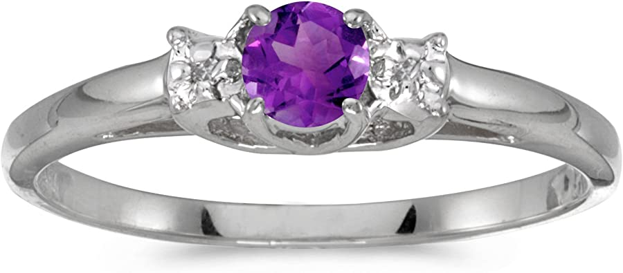 FB Jewels 14k White Gold Genuine Birthstone Solitaire Oval Gemstone And Diamond Wedding Engagement Statement Ring