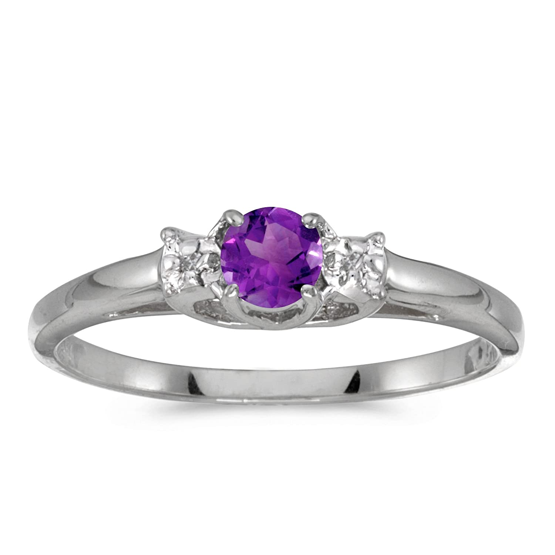 0.17 Carat ctw 10k Gold Round Purple Amethyst & Diamond Bypass Halo Engagement Anniversary Fashion Ring