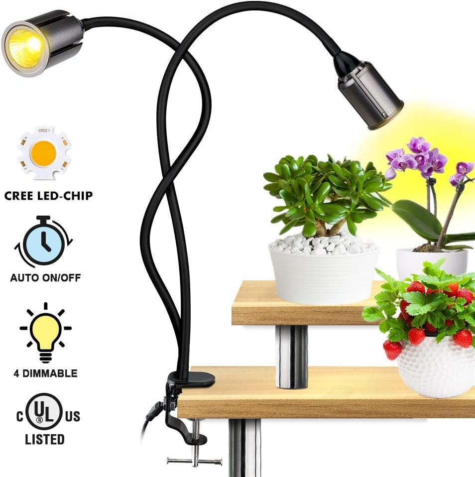 LED Grow Light for Indoor Plants - Relassy 75W Sunlike Full Spectrum Plants Lights 3/6/12H Timer CREE COB Grow Lamp - Dual Head Flexible Gooseneck – 5 Dimmable Lights for House Plants