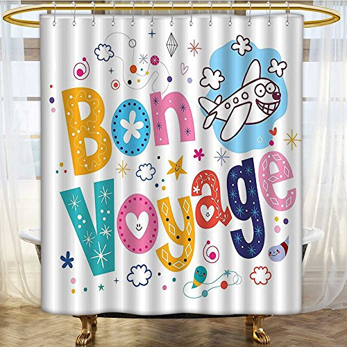 Mikihome Shower Curtains Digital Printing Faced Airplane Journey Satin Fabric Bathroom Washable W69 x H70 inch