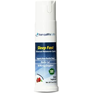 Tranquility Labs Sleep Fast Oral Melatonin Spray, 32 Doses, Enhanced with Valerian Root