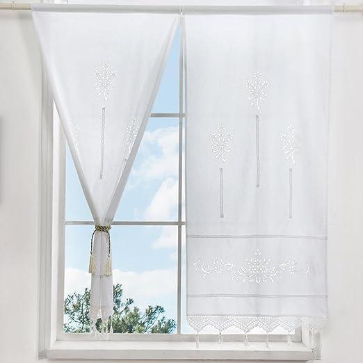 ZHH - 1 par de cortinas, con huecos, floral, algodón natural, tejido crochet, para parte superior 70 x 150 cm, poliéster, Blanco, W 27 inch * H 59 inch: Amazon.es: Hogar