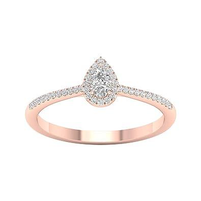 Amazon.com: Anillo de compromiso de diamante único con forma ...