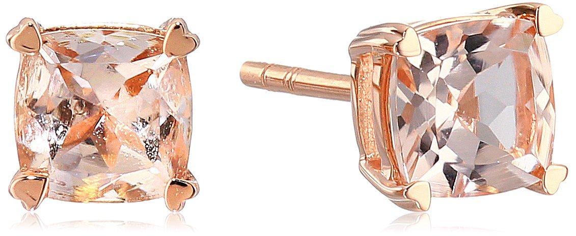 10k Rose Gold Morganite Cushion Stud Earrings