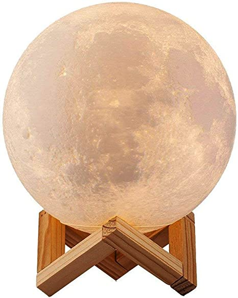 Porzellan Tischlampe Mond weiß inkl LED-Leuchtmittel Nachttischlampe Lampe
