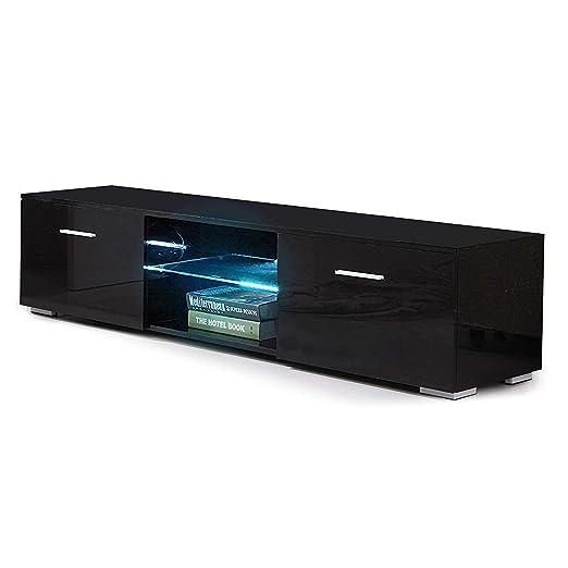 mecor TV Schrank Fernsehtisch Fernsehschrank TV Lowboard Tisch TV Möbel mit 2 Schubladen Hochglanz inkl. LED Beleuchtung in S