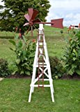 Amish-Made Working Farm Style Windmill Yard Decoration 82'' Tall, White with Stauffer Red Trim