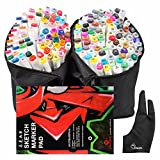 168 Set Color TOUCHNEW Graphic Drawing Painting Alcohol Art Dual Tip Sketch Pen Twin Marker Design Coloring Highlighting Set with Carry Bag +A4 Drawing Book + Parblo Glove