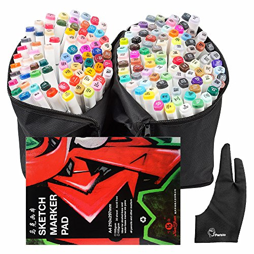 Tip Design Carry Art Painting Set Alcohol TOUCHNEW Parblo 168 Graphic Marker Sketch Book Twin Glove Dual A4 Color Coloring Bag Set Drawing Drawing Highlighting Pen with w6HfHzpq