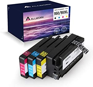 Allwork Compatible Ink Cartridge Replacement for HP 950 951 950XL 951XL Combo Works with HP OfficeJet Pro 8610 8600 8620 8630 8100 8625 8615 8660 8640 251DW 276DW 271DW (4-Pack)