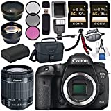 Canon EOS 7D Mark II DSLR Camera 9128B002 + Canon EF-S 18-55mm f/3.5-5.6 IS STM Lens + 58mm Wide Angle Lens + 58mm 2x Lens + LPE-6 Lithium Ion Battery + Sony 16GB &32GB SDHC Card Bundle