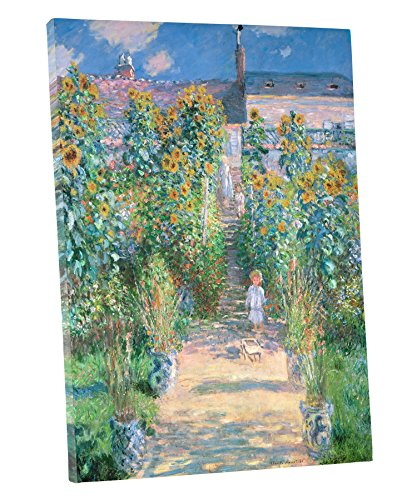 Niwo Art (TM - The Artist's Garden at Vetheuil 1880, by Claude Monet - Oil Painting Reproductions - Giclee Canvas Prints Wall Art for Home Decor, Stretched and Framed Ready to Hang (16