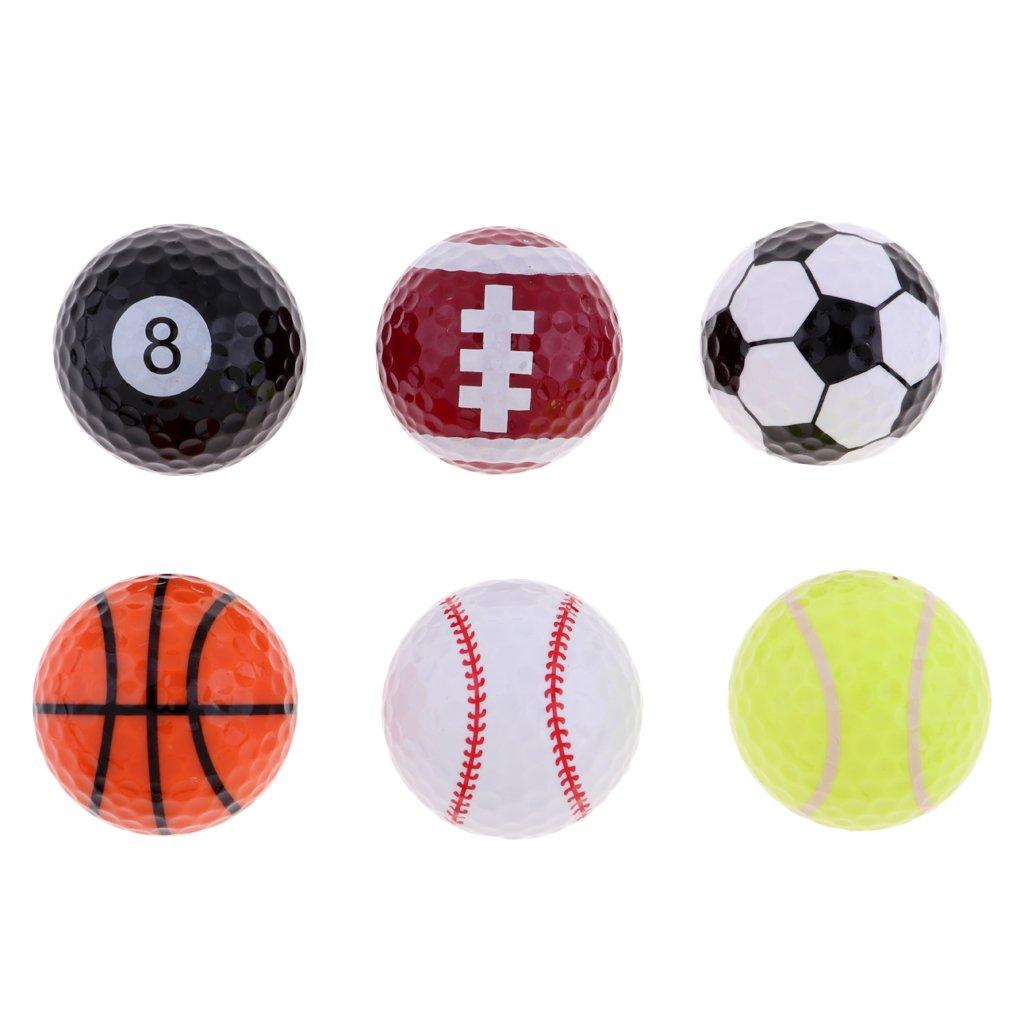 Baoblaze Set of 6 Sports Novelty Golf Balls Tour Novelty Gift Fun Sports Golf Balls