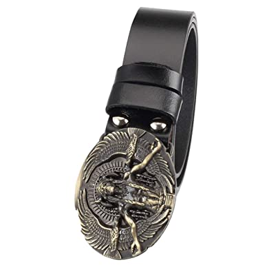 461e4f7b2 Buckle Belt Black Red Leather Stitched Belt With Matching Alloy Buckle  Retro Portrait for Mens Womens