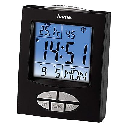 Hama RC330 - Reloj despertador por radiocontrol, color negro