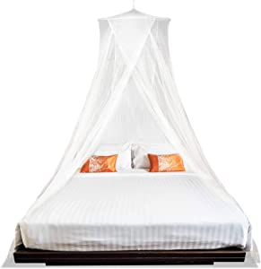 MEKKAPRO Extra-Large King Mosquito Bed Net, Made for King Queen and Twin, Two Openings Netting | Bed Canopy Curtains, White Mosquito Netting