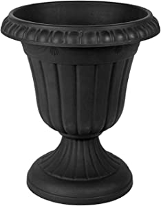 "Arcadia Garden Products PL10BK Classic Traditional Plastic Urn Planter, 15"" x 13"", Black"