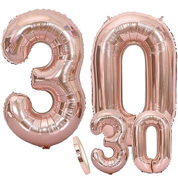 Globos Número 30 Cumpleaños XXL de oro rosa - Globo de ...
