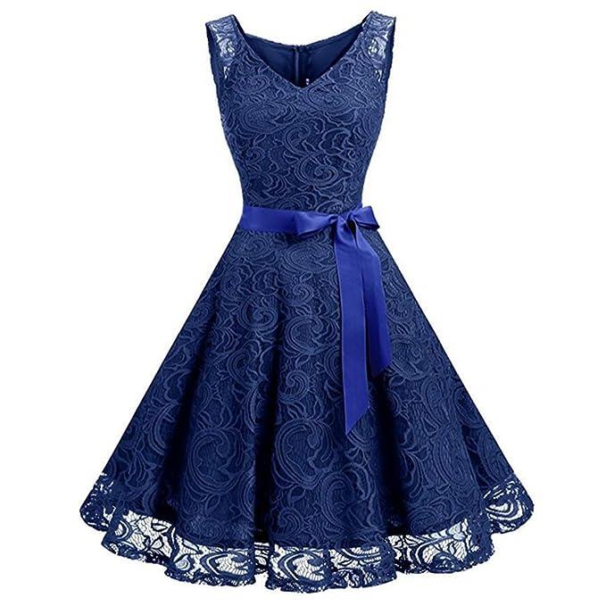 iShine Retro Kleid Damen Knielang V Ausschnitt Rockabilly