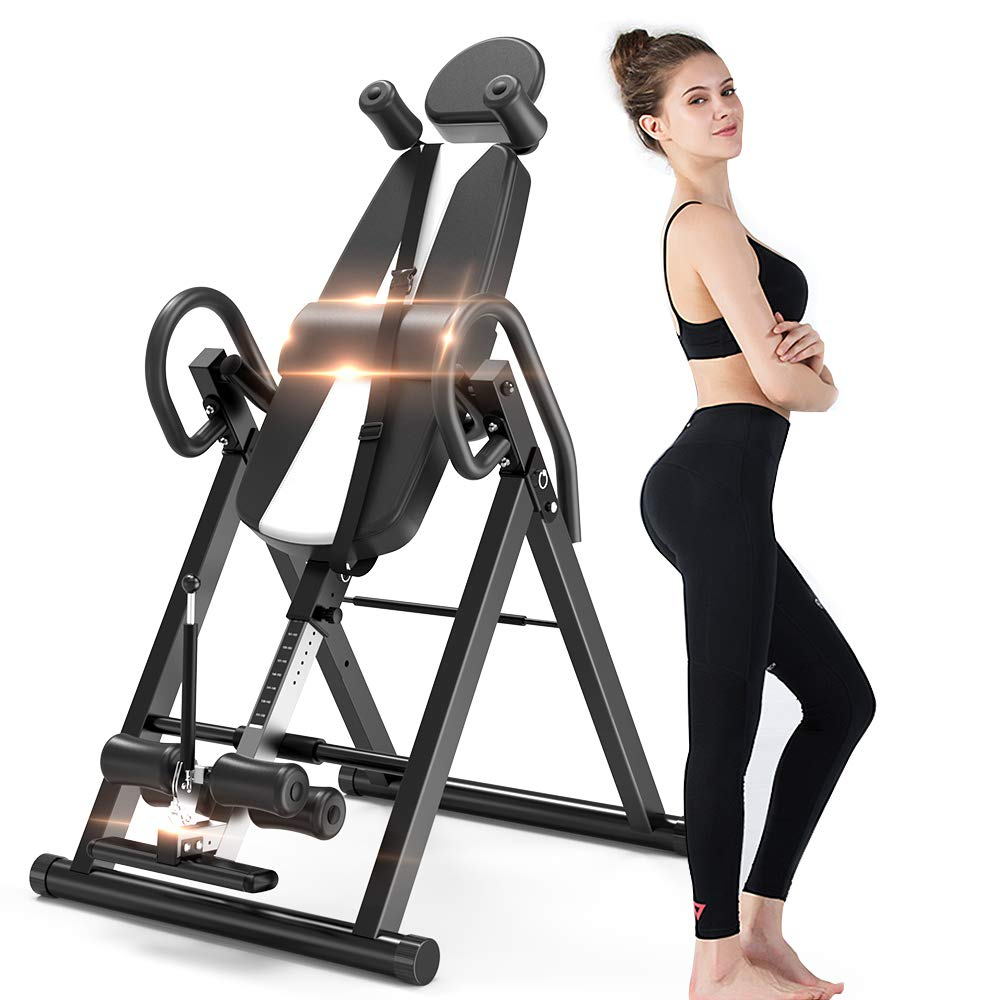 Bigzzia Gravity Heavy Duty Inversion Table with Headrest Adjustable Protective Belt Back Stretcher Machine for Pain Relief Therapy