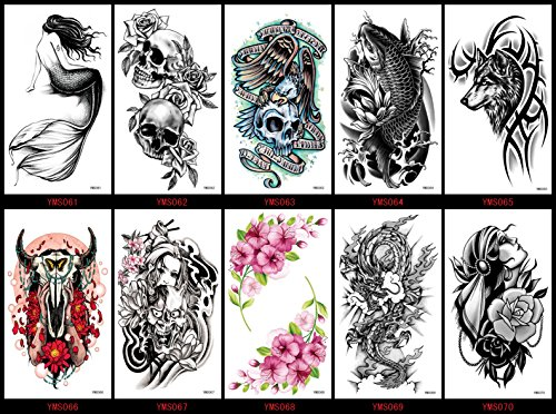 Grashine long last and realistic temp tattoo stickers 10pcs Halloween fake tattoos in a packages,including fish,ox head,wolf,etc.
