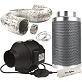 Casolly 6-Inch Inline Duct Fan Combo 315 CFM Fan Exhausting Carbon Air Filter for Grow Tent 25 Feet Ducting Included