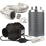 Casolly 6-Inch Inline Fan Carbon Filter Fan Combo 315 CFM Fan Exhausting Carbon Air Filter for Grow Tent 25 Feet Ducting Included