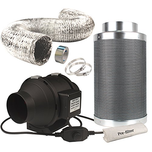 Casolly 4-Inch 118 CFM Inline Fan,Exhausting Carbon Filter Fan Combo for Indoor Garden Kit, 25 Feet Ducting w/2 Clamps Included