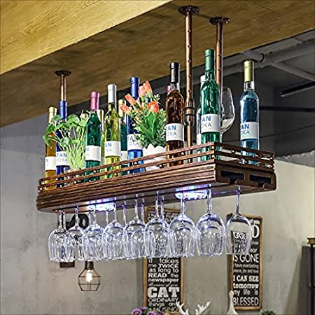 CDBL Barra de Bar mostrador de Bar Estante de Vino Restaurante hogar Copas de Vino Estante invertido Retro Arte de Hierro bastidores de Vino Bastidores de Stemware (Tamaño : 60 * 27cm)