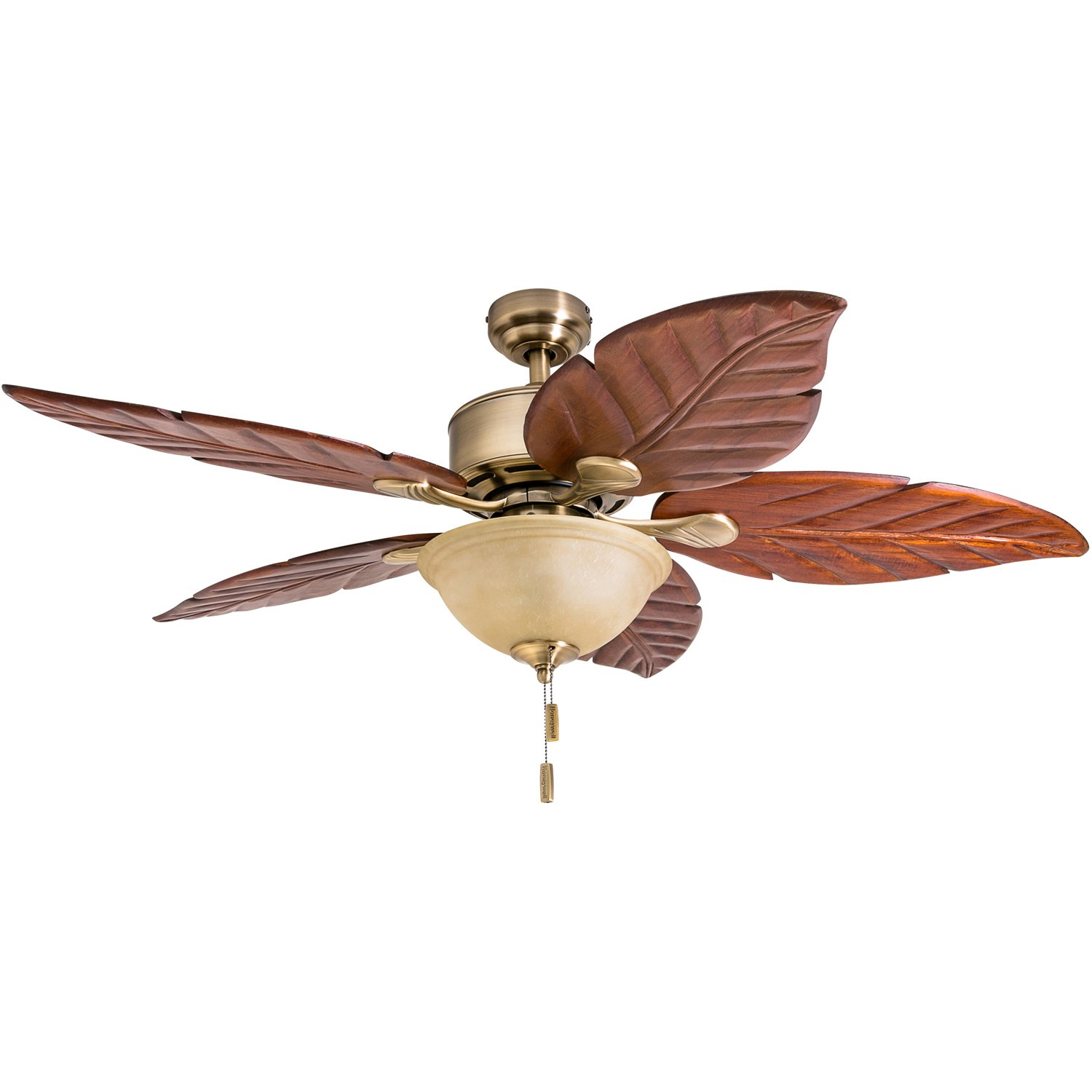 Honeywell Sabal Palm 52-Inch Tropical Ceiling Fan with Sunset Bowl Light, Five Hand Carved Wooden Leaf Blades, Lindenwood/Basswood, Bronze 50204