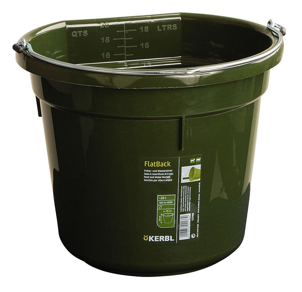Cubo para agua o comida FlatBack aprox. 20 l, verde Kerbl 323490
