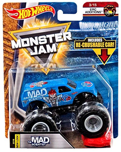 2018 Hot Wheels Monster Jam 1:64 Scale Truck with Re-Crushable Car - The Mad Scientist (Mad Truck)