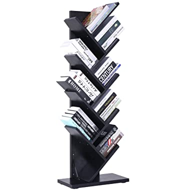 SUPERJARE 9-Shelf Tree Bookshelf | Thickened Compact Book Rack Bookcase | Display Storage Furniture for CDs, Movies & Books | Black