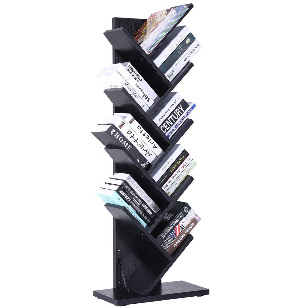 9-Shelf Tree Bookshelf | Superjare Compact Book Rack Bookcase | Display Storage Furniture for CDs, Movies & Books | Holds Up To 10 Books Per Shelf | Black