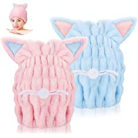 Number-One 2 toallas de secado de pelo ultra suaves, absorbentes, de microfibra de secado rápido, gorro de baño de…