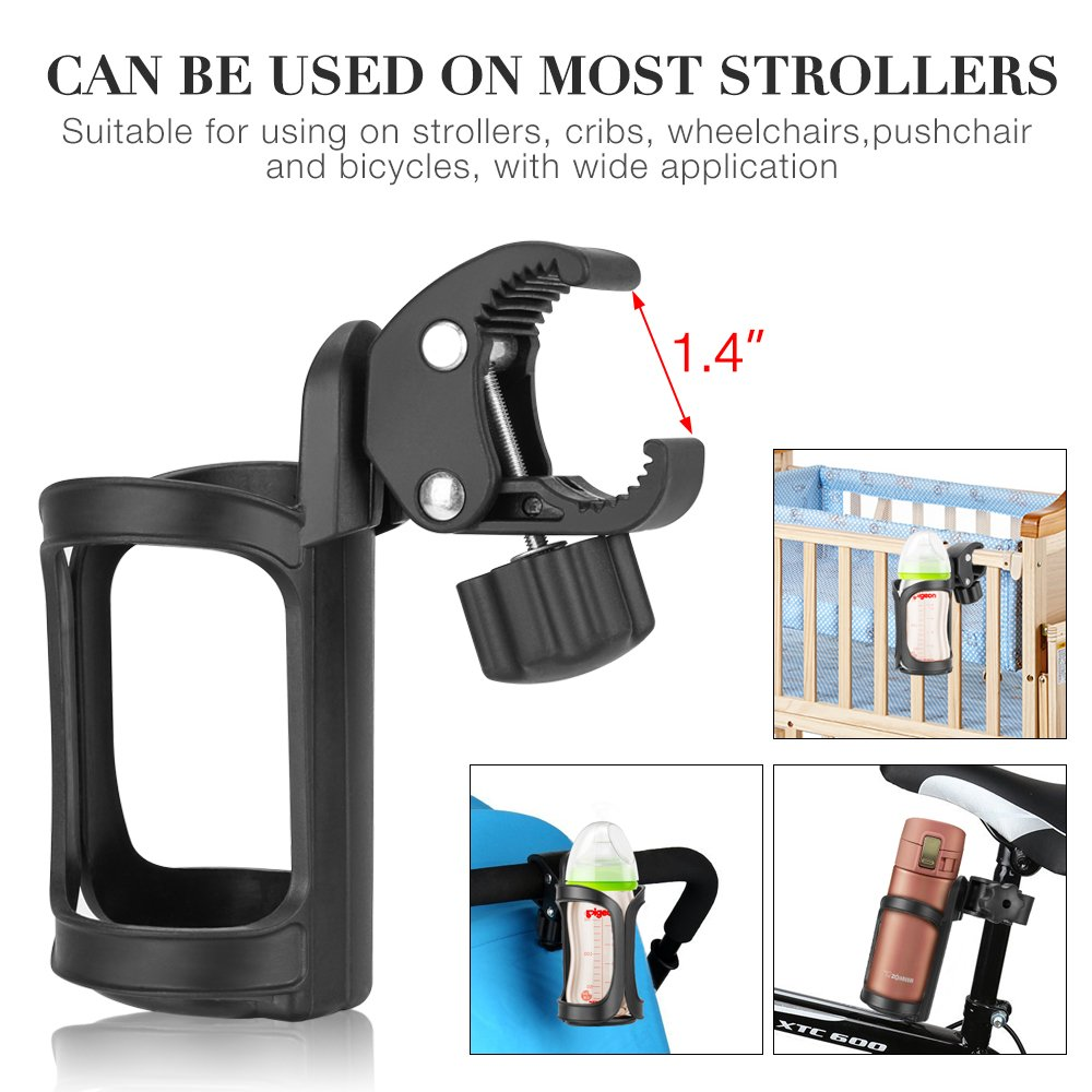 Bike Cup Holder, Komake Stroller Bottle Holders Upgrade Edition Universal 360 Degrees Rotation Antislip Cup Drink Holder for Baby Stroller, Pushchair, Bicycle, Wheelchair, Motorcycle (2 Pack) by Komake (Image #3)