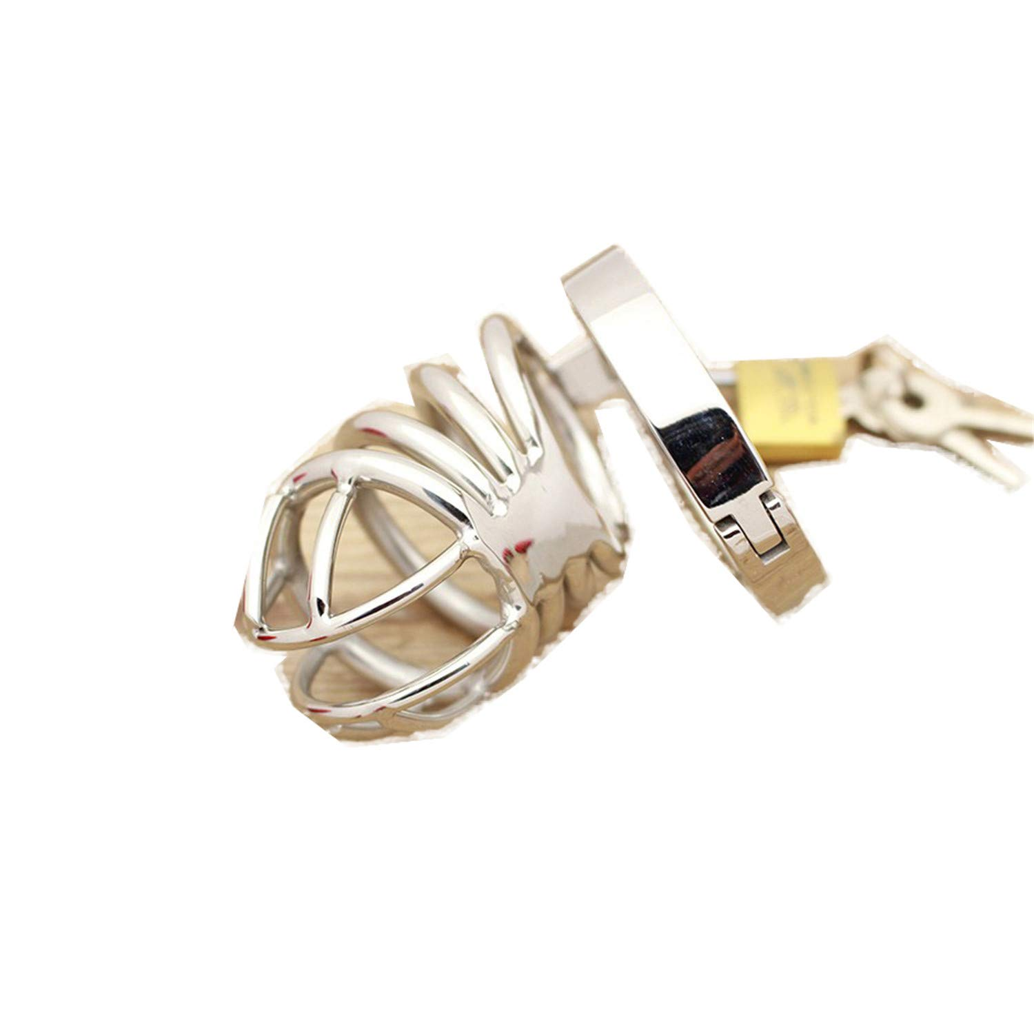 sensitives Male Chastity Device Stainless Steel Cock Short Cage Men's Virginity Lock, Small Chastity Belt Adult Game Sex Toys 38mm by sensitives (Image #5)