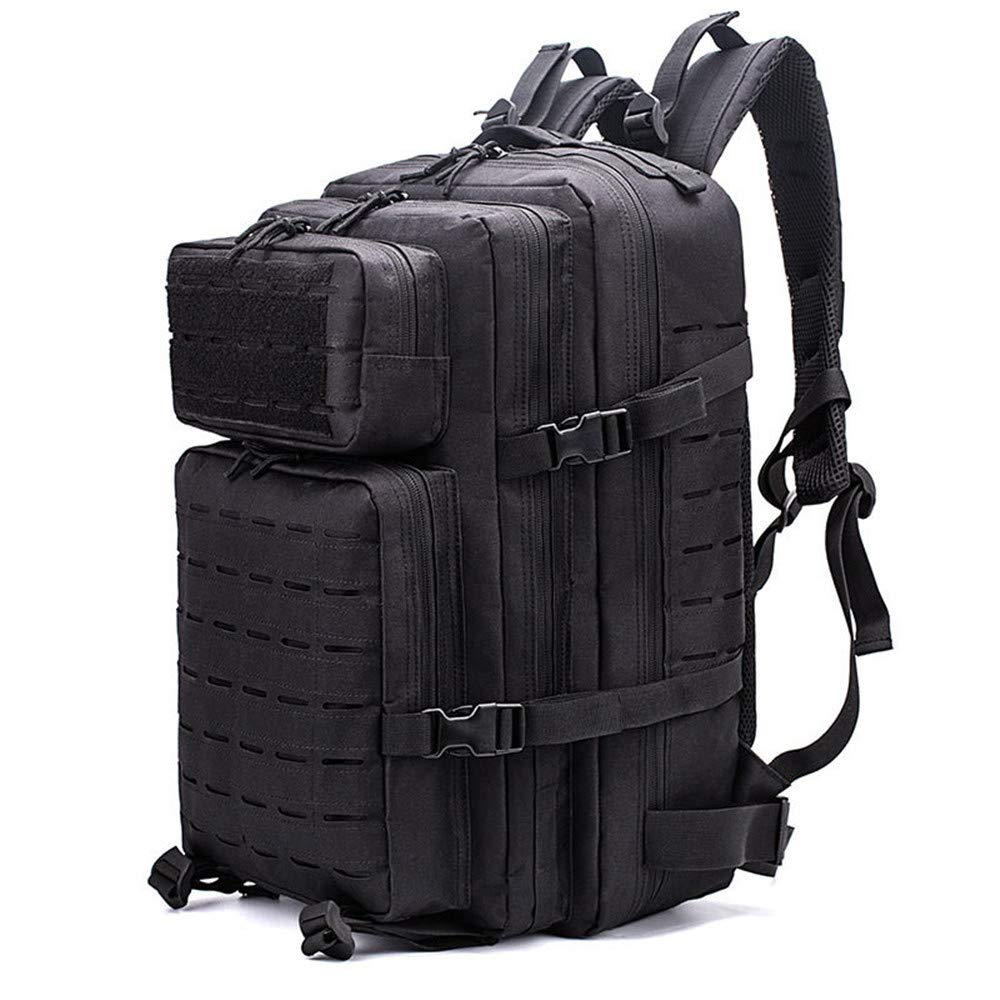 XNBAO Casual Daypacks Unisex Outdoor Backpack Military Tactical Backpack Large Assault Pack 3 Day Army Rucksacks Molle Bug Out Bag Hiking Trekking Backpack Color : Black, Size : 302550cm
