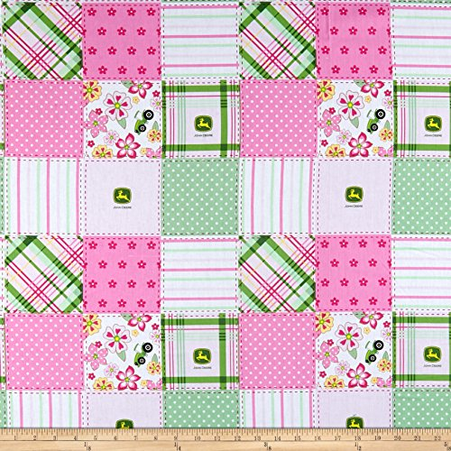 Springs Creative Products John Deere Everyday Cotton Floral Madras Patch Pink Fabric by the -