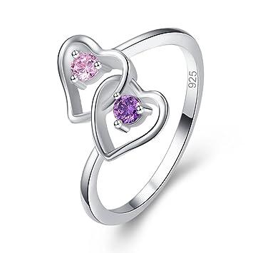Amethyst /& Rainbow Topaz Double Heart 925 Silver Ring Love Wedding Lady Jewelry