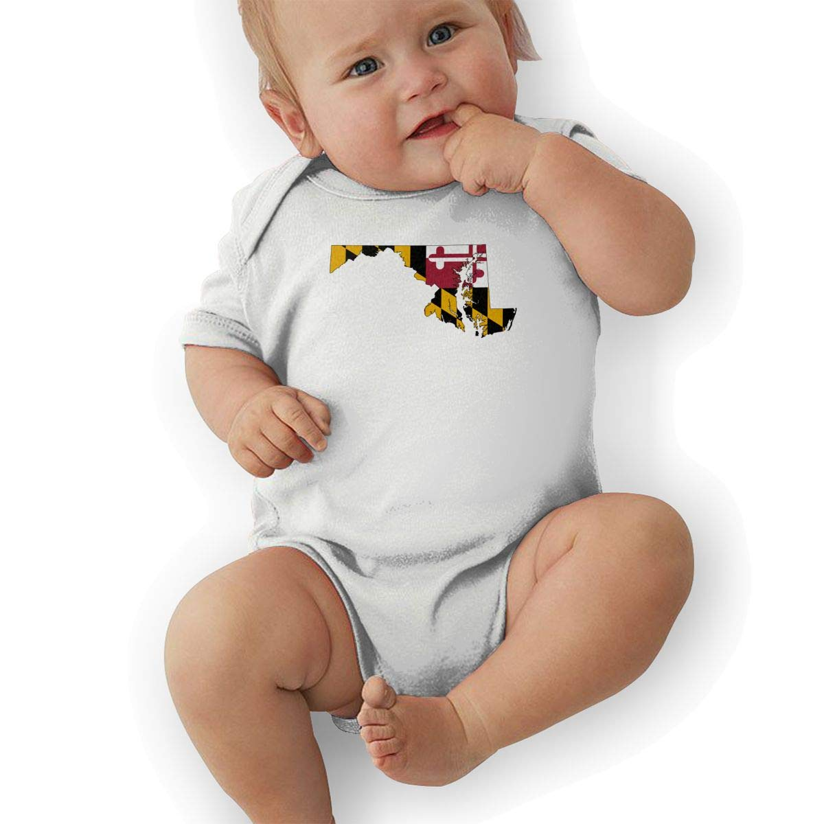 Newborn Baby Boys Bodysuit Short-Sleeve Onesie Maryland State Flag Print Outfit Summer Pajamas