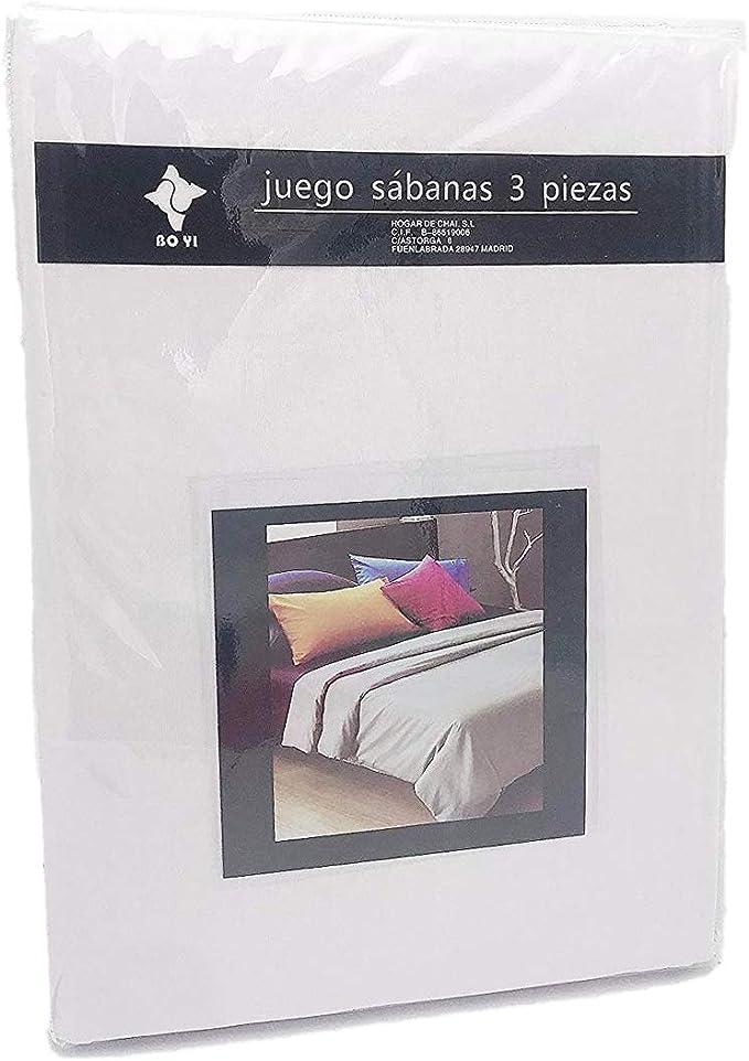 LEYENDAS Juego SABANAS 3 Piezas Liso 15 Color,100% Poliester (Blanco, 150_x_200_cm): Amazon.es: Hogar