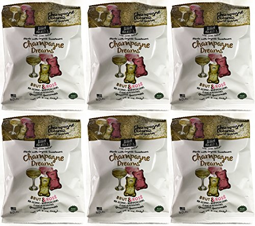 Project 7 Champagne Dream Brut & Rose Non-Alcoholic Non-GMO Gourmet Gummies Pack of 6