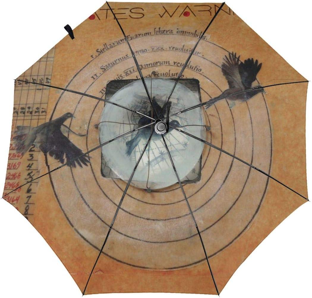 RongFaClothing Automatic Waterproof Classic Fates Warning Sun Umbrella-Auto Open Close Travel Tri-fold Rain Parasol Umbrella Gift Outer Print