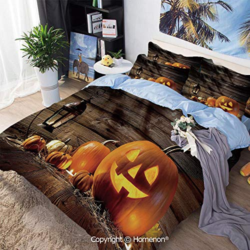 3 Piece Set Microfiber Fabric,Grinning Expression Pumpkin Country House Squash Bunch on Wooden Planks Image,Full Size,Hypoallergenic,Cool Breathable,Brown Orange]()