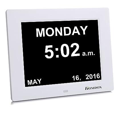 Homdox - Reloj calendario para personas mayores con fecha, día y hora para personas