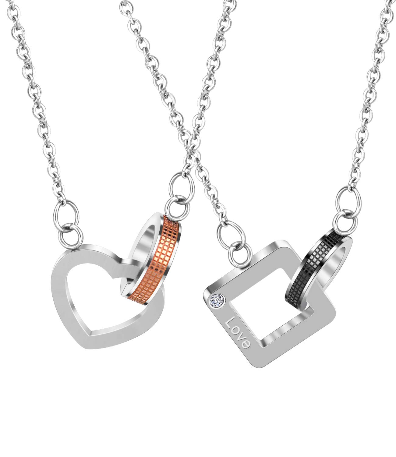 ANAZOZ Stainless Steel 2PCS Set Silver His and Hers Couple Cross Pendant Necklace