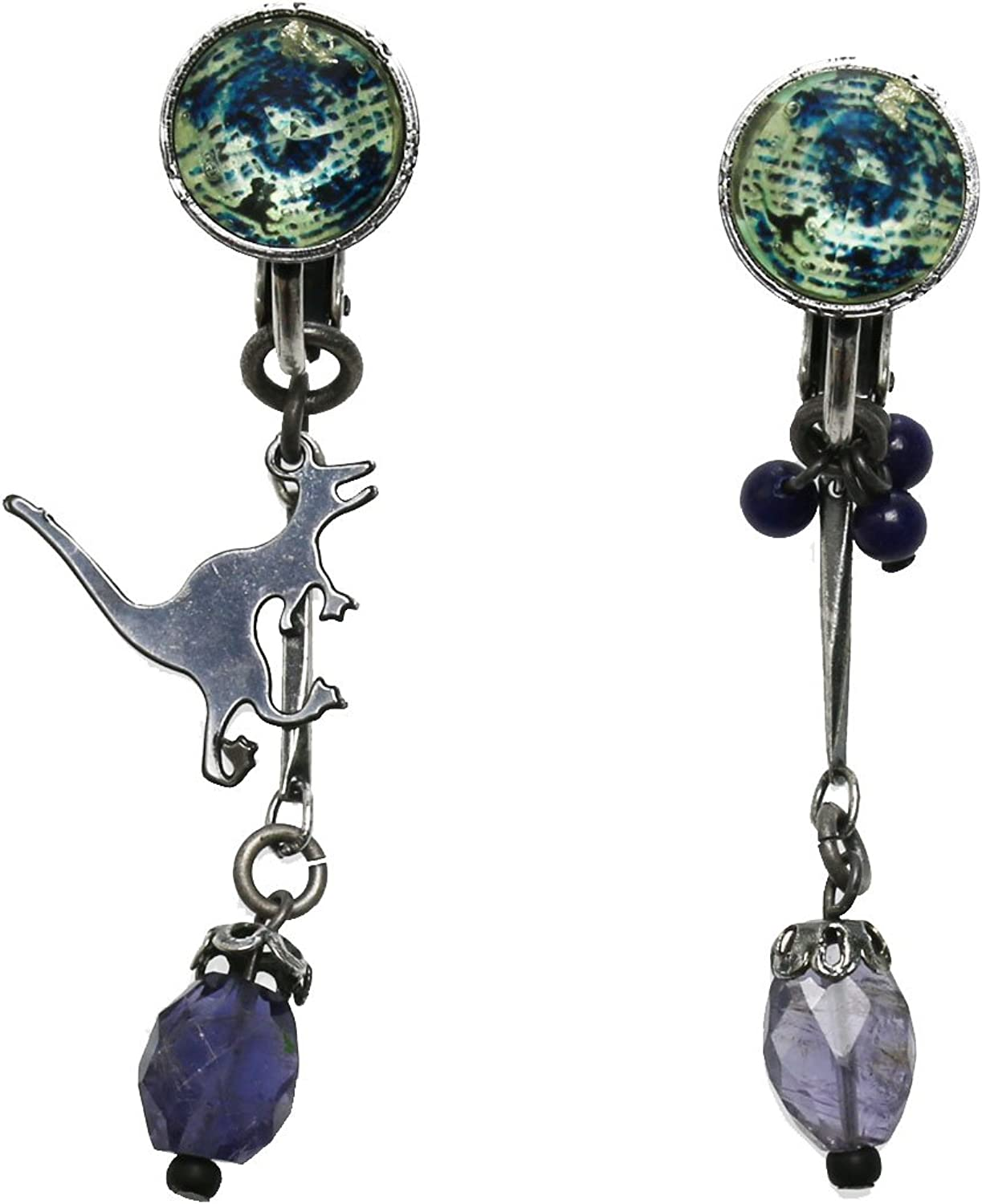 Tamarusan Earrings Dinosaur Lapis Lazuli Iolite Blue Popular Featured Staylish