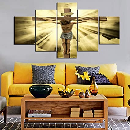 House Decorations Living Room Wall Decor Jesus Crucified on the Cross  Canvas Christ Religious Paintings 5 Panel Posters and Prints Pictures Home  ...