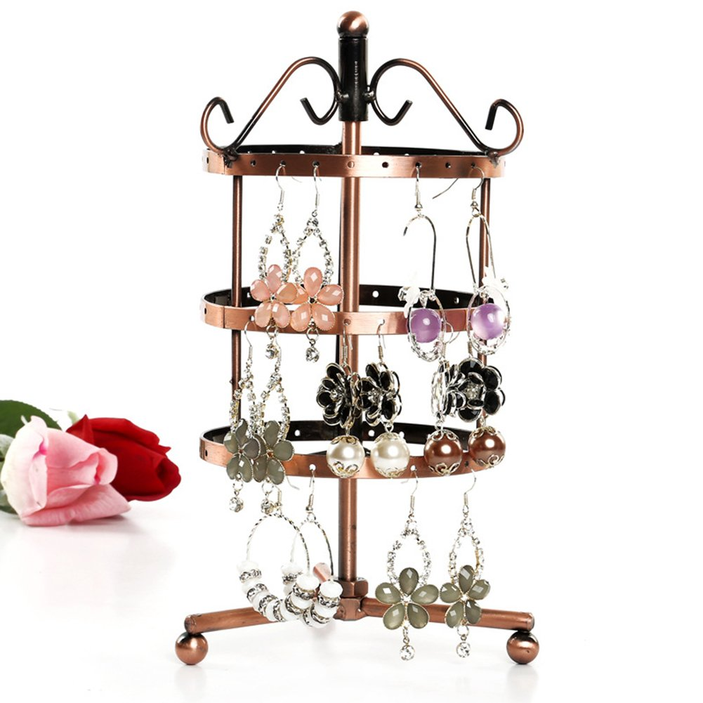 Domybst 72 Holes Earrings Ear Stud Jewelry Metal Rotating Display Stand Holder Domybest 144792.03